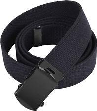 Black Military Cotton Web Belt with Black Buckle