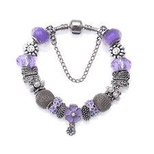 NEW MC Silver Purple Enamel Butterfly Mesh Murano Beads Charm Pandora Bracelet