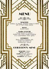 10 X Personalizado Boda Noche cuadro menú Tarjetas Gran Gatsby