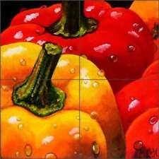 Pepper Tile Backsplash Micheline Hadjis Fruit Art Ceramic Mural MHA046