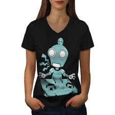 DJ Robot Turntable CD Women V-Neck T-shirt NEW | Wellcoda