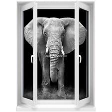 Sticker mural Fenêtre trompe l'oeil Eléphant noir et blanc 5360 5360