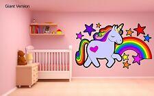 Unicorn wall sticker arc en ciel étoiles fille chambre décoration art géant fairy tale murale
