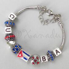 Cuba European Charm Bracelet With Large Hole Rhinestone Beads