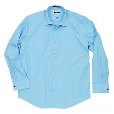Labiyeur Slim Long Sleeves solid Sky Blue Cotton Blend French Cuffs Dress Shirts
