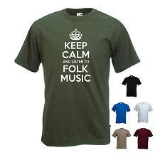 'Keep Calm and Listen to Folk Music'  Blues Guitar Rock T-shirt Tee Gift