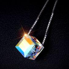 Halskette Kristall echt Sterling Silber 925 Würfel Kugel Damen Mädchen