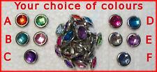 26 BRADS CRYSTAL JEWEL GEM Choose Colours 10mm Bulk NEW