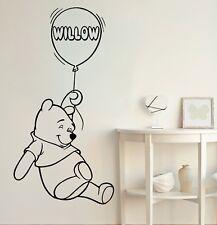 Winnie The Pooh Wall Decal Name Air Balloon Vinyl Stickers Nursery Decor KY19