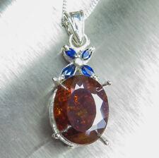 9.5cts Natural Sphalerite & Sapphires 9ct 14k 18k yellow white Gold pendant