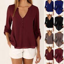 Women Chiffon V Neck Long Sleeve Shirt Blouse Top Loose Casual T-Shirt Plus Size