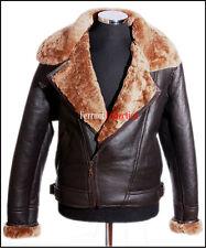 Mens B3 Shearling Sheepskin Jacket Brown Cross Zip WW2 Aviator Flying Fur Jacket
