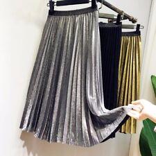 Womens Shiny Metallics Pleated Skirts Mid-length High Waist A-line Skirt Dress