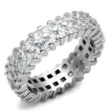O2431  SIMULATED DIAMOND RING  DOUBLE PRINCES CUT ETERNITY WEDDING BAND CLEAR