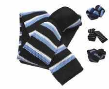 CRAVATTA IN MAGLIA BLU A RIGHE AZZURRE bianche cravatte tricot VARIE blu azzurro