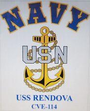 USS RENDOVA CVE-114* AIRCRAFT CARRIER U.S NAVY W/ ANCHOR* SHIRT