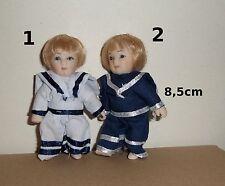 poupée miniature en porcelaine,garçon,marin,blond,maison de poupée,vitrine **S14