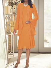 Ashro Orange Formal Wedding Dinner Church Elena Ruffle Jacket Dress 22W 2X PLUS
