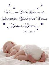 Wandtattoo Aufkleber Wunschname Wenn aus Liebe Leben wird Baby Kind Geburt ki067