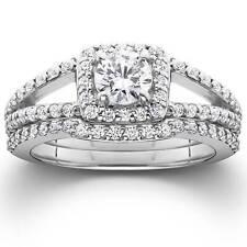 1 1/5ct Pave Halo Split Shank Diamond Engagement Wedding Ring Set 14K White Gold