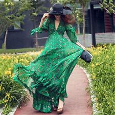 Womens Boho Printing V-neck Chiffon Long Maxi Evening Party Green Beach Dress