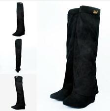 Women's Suede Cloak High Wedge Heels Round Toe Knee High Boots Clubwear Shoes SZ