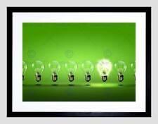 PAINTING ILLUSTRATION GREEN LIGHT BULB BRIGHT ENERGY FRAMED ART PRINT B12X12930