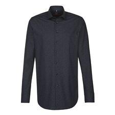 Seidensticker Herren Langarm Hemd Modern schwarz blau Paisleymuster 114590.39