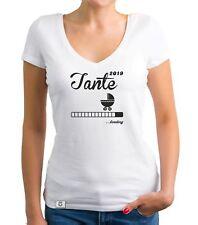 Damen T-Shirt V-Ausschnitt - Tante 2019 loading - Nichte Neffe Pate Nachwuchs