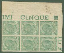 Blocco di 6 (angolo foglio) cent.5 verde Leoni no dent.