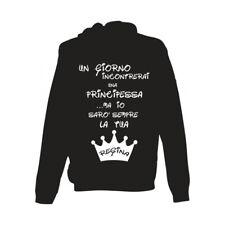 felpa cappuccio nera bianca scritta simpatica mamma figlio regina principessa