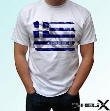 Grecia Bandera-Blanco T Shirt superior País Diseño-Para Hombre Para Mujer Kids & Baby Tamaños