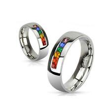 BAGUE ALLIANCE LGBT GAY MARIAGE FEMME HOMME ACIER MARIAGE ORIGINALE NEUVE M2154