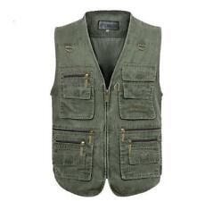 Mens Casual casual Cargo Zipper Camera Fishing work zipper Waistcoat Vests new