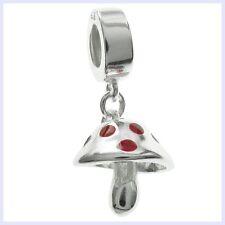 925 Sterling Silver Red Enamel Mushroom Dangle Bead for European Charm Bracelet