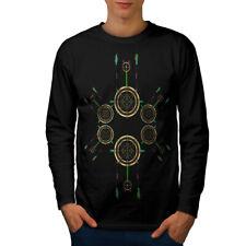 Forma circolare Fashion Uomo Manica Lunga T-shirt Nuove | wellcoda