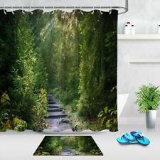 "72"" Waterproof Fabric Shower Curtain Set Green Rain Forest Trees Path Landscape"