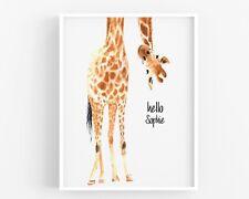 Personalised Giraffe Print,Nursery Print Wall Art,Baby Room UNFRAMED