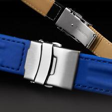 Uhrarmband Faltschließe blau & schwarz WASSERFEST Gummiert Kautschuk 18mm 20mm