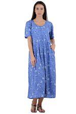 Cotton Lane Wrinkle Resistant Printed Dress D48Blue