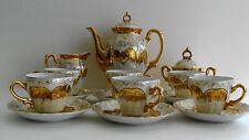 Vintage STERLING CHINA 17 Piece Tea Set Gold Overlay Opalescent Flowered Japan