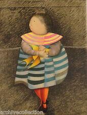 """Graciela Rodo Boulanger """"  Oiseau Jaune """" Original Lithograph Art"""