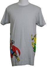 Thor vs Loki T-shirt Marvel Superhero Epic Battle Graphic Tee Light Gray NWT