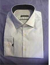 Ex Store Mens 100% Cotton, Sky Blue Stripe shirt buttoned single cuff TAILORED
