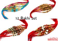 12 x Rakhi Thread Bracelet Multicolour Bead Raksha Bandhan Rakhi Wrist Band Uk-1