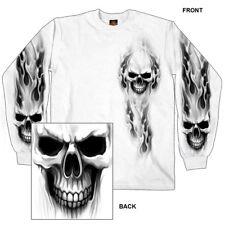 Ghost Skull T-Shirt LONG SLEEVE Motorcycle Chopper Sport Bike Biker WHITE L/S