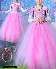 Rapunzel Disfraz De Carnaval Máscara Enredados Cosplay Niña Tul Vestido RAP003