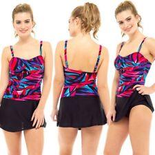 Ladies Pink Blue Printed Leaf Tummy Control Swimming Costume Swim Dress 10 - 22
