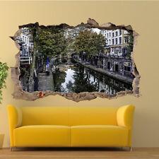 Netherlands Canal Utrecht Wall Stickers 3d Art Mural Decal Home Office Decor SG3