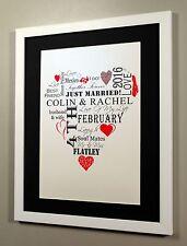 Personal Word Art Print Wedding Anniversary Heart Shaped A4 Framed Gift Keepsake
